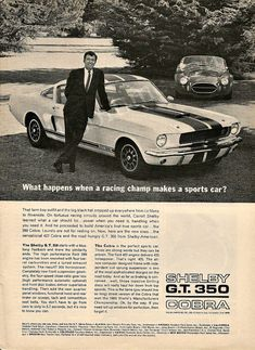 "CARROLL SHELBY Cobra 427 & GT 350 1966 Ad ""Racing Champ Makes A Sports Car"" Vintage Classic Print"