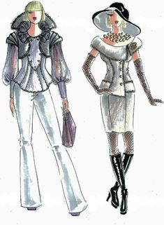 "Look at sketches of the collection ''Irreplaceable Coco"" that was devoted to upper-middle-class ladies who are well-being, socially active, confident and express their unique identities. The first outfit contains a gray wool vest, purple nylon blouse, and gray flaring pants. The second design is a boucle two pieces suit, a vest with a big collar that covers arms below shoulders and a pencil-skirt. Both outfits decorated with trims taking from Chanel's original ideas."