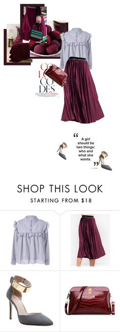 """""""How it should be"""" by theitalianglam ❤ liked on Polyvore featuring Salvatore Ferragamo, pleated, burgundy and trends"""