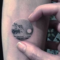 Calming ocean scenery tattoo by Eva #Miniature #mini #scenery #eva #ocean  (@evakrbdk)