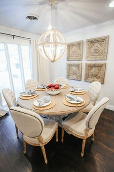 Simple and Modern Tips: Dining Furniture Design Woods rustic dining furniture open shelves.Outdoor Dining Furniture Home painted dining furniture duck eggs. Living Furniture, Home Furniture, Kitchen Furniture, Furniture Buyers, Furniture Ideas, Furniture Design, Fixer Upper, Breakfast Table Setting, Breakfast Nook