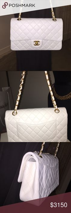 """Auth CHANEL S/M White Lambskin Double Flap 2.55 Gorgeous 100% Authentic CHANEL White Quilted Lambskin Leather Double Flap 2.55. Made in France. In beautiful preowned condition with the serial sticker intact. This is considered the small/medium size. The approximate length is 9.2"""", height is 6"""", and the depth 2.5"""" with a 16.5"""" Shoulder drop. This is a classic CHANEL bag that never go out of style. Perfect for any occasion all year round. Comes with the authenticity card, dust bag, and box…"""