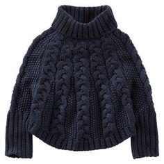 Sparkle Cable-Knit Cuffed Poncho