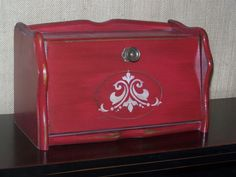 Hand Painted Vintage Red Bread Box  Wood Red Breadbox  by faltom, $48.00