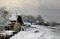 Lodewijk Franciscus Hendrik 'Louis' Apol (Den Haag 1850-1936) Boerderij in een winterlandschap - Kunsthandel Simonis en Buunk, Ede (Nederland).