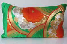 Silk Cushion in a Green Embroidered Oriental Floral Vintage Japanese Obi 55x30cm £45.00