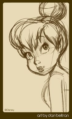 """Tinkerbell"" by Dan Beltran Peter pan Disney Drawings Sketches, Cartoon Drawings, Easy Drawings, Drawing Sketches, Sketching, Drawing Drawing, Tattoo Sketches, Drawing Ideas, Peter Pan Zeichnung"