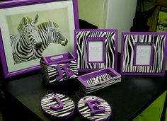 Zebra print stuff is way too expensive for me so I made all this stuff by upcycling Goodwill finds for under $30
