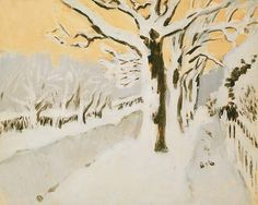 Fairfield Porter / Late Afternoon Snow / 1972 / oil on paper on panel