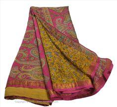 VINTAGE INDIAN SAREE PRINTED FABRIC PURE SILK SARI CRAFT ZARI BORDER 5 YARD #SanskritiVintage