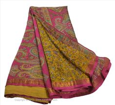 VINTAGE INDIAN SAREE PRINTED FABRIC PURE SILK SARI CRAFT ZARI BORDER 5 YARD #SanskritiVintage
