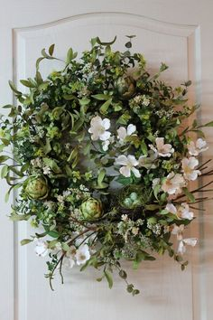 Elegant Country Spring/Summer Door Wreath, Beautiful Lg. Bird Nest/Three Eggs -- FREE SHIPPING. $162.00, via Etsy.