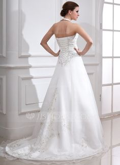 A-Line/Princess Halter Court Train Organza Satin Wedding Dress With Embroidery Beading (002000283)