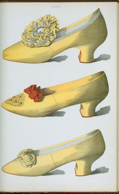 Two yellow satin shoes, the first worn on stage by the actress Miss Ada Cavendish, and one straw colored shoe. (1900)