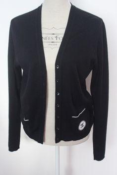 Cardigan Noir Chanel / Schwarz / 44 (XL/XXL, T5) FR / Baumwolle / Alle Jahreszeiten