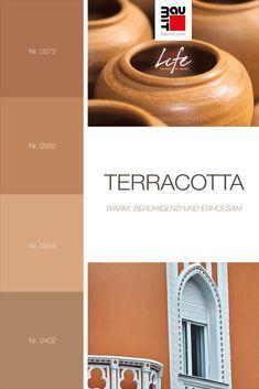 Terracotta ist ein rötliches Mittelbraun. Er hat die gleichen Eigenschaften wie Braun – warm, beruhigend und erholsam. Dieser freundliche Braunton verstärkt die erdige Erscheinung der Fassadenarchitektur. Terracotta lässt sich sehr gut mit Beige und dunkelbraunen Farben sowie mit den eigenen verdünnten Schattierungen kombinieren. #wirkungvonwandfarbe #wirkungvonfarbe  #farbpsychologie #Farbtrends2020wohnen #Farbtrends2020 #Farbtrend #Farbtrendswohnen #farbinspiration #keramik #terracotta Freundlich, Terracotta, Colours, Medium Brown, Shades, Get Tan, Colors, Terra Cotta