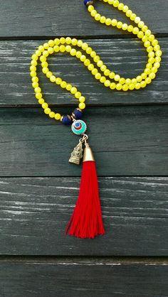 Yellow Jade Mala handmade by Kate Montelaro Wyshock for the Siesta Key Bead Shack