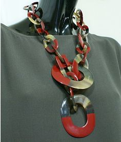Horn Necklace Natural Lacquer, Handmade Charm VC028 by Dungcraft on Etsy
