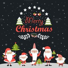 Santa Clauses with Christmas tree by masastarus on Creative Market