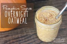 Creamy Pumpkin Spice Overnight Oatmeal Ingredients  1/4 Steel Cut Oats 1/4 Pumpkin Puree 1/2 Almond Milk Dash of Pumpkin Spice (Cinnamon, Ginger & Nutmeg) Instructions  Mix the ingredients in a bowl and then pour into a mason jar. Cover with lid. Let sit overnight Microwave for 1 minute to eat or eat cold!