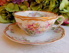 Vintage Haviland Limoges Porcelain Large Cup & Saucer Pink Floral Double Gold #HavilandLimoges