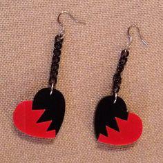 Broken Heart earings  #plexi & alluminium