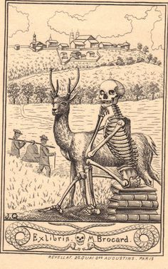 Death and the Buck.  Exlibris of M.Brocard.  Artist J.Q. Paris.   From the collection of Richard Sica