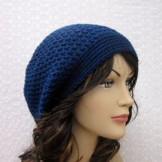 Navy Blue Slouchy Crochet Hat  Womens Mens by ColorMyWorldCrochet