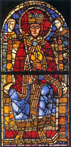 GOTHIC GLASS PAINTER, French Charlemagne c. 1200 Stained glass window Cathedral, Strasbourg