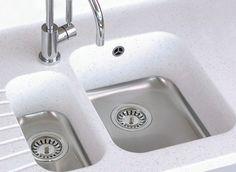 Corian Kitchen Worktop with Colour Matching Sinks Corian Sink, Sink Taps, Sinks, Kitchen Sink, New Kitchen, Kitchen Dining, Kitchen Worktops, Kitchen Ideas, Worktop Inspiration