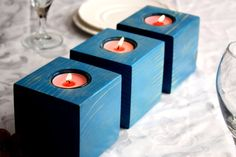 Blue Wood Candle Holder Set Wooden Votive Candle by WoodDecoration