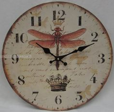 vintage rustic french dragonfly clock