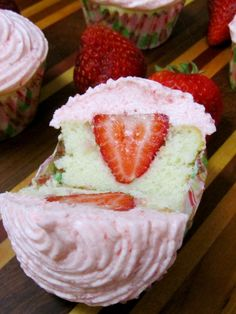 Strawberry Stuffed Cupcakes 2
