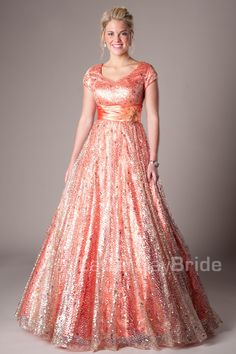 Love this prom dress! So modest and pretty!  It comes in blue too!