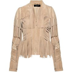 Gucci Fringed suede jacket (€1.845) ❤ liked on Polyvore featuring outerwear, jackets, tops, gucci, women, gucci jacket, zipper jacket, zip jacket, beige jacket and suede jacket