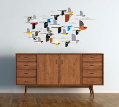 STICKERS A Flock of Birds Wall Décor - Charley Harper