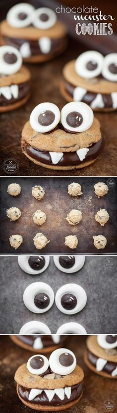 The best Halloween dessert are these Chocolate Monster Cookies made with homemad. The best Halloween dessert are these Chocolate Monster Cookies made with homemade candy googly eyes, perfect chocolate chip cookies, and chocolate ganache. Halloween Desserts, Halloween Food For Party, Halloween Cookies, Holiday Desserts, Holiday Treats, Halloween Treats, Holiday Recipes, Halloween Chocolate, Halloween Halloween