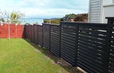 house fence designs nz - Google Search House Fence Design, Valley Road, Modern Fence, Outdoor Furniture, Outdoor Decor, Outdoor Structures, Landscape, Fencing, Image