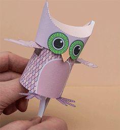 Free owl paper toy template Pinned by www.myowlbarn.com
