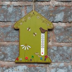Wooden house shaped thermometer for garden by daisydaisydesignsuk