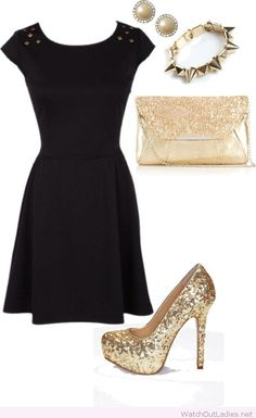Golden glitter accessories and a black dress