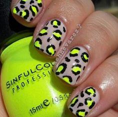 Neon Yellow & Silver Cheetah Print Nails