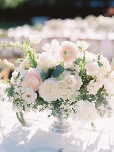 Organic blush and ivory ranunculus, rose and veronica wedding centerpiece: http://www.stylemepretty.com/2016/11/22/natural-and-organic-same-sex-ojai-wedding/ Photography: Lavender and Twine - http://www.lavenderandtwine.com/