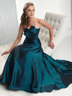 Turquoise Strapless Bowknot Bridesmaid/Evening/Formal/Prom/Ball Dress Size 8