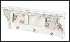 Vintage Shelf Unit with Photo Spaces. Distressed White Mango Wood. A sweet shelf unit for your bedroom or hallway. #vintage #vintageshelf