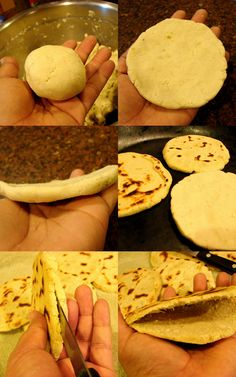 """Pollo This is one of the dishes my kids loves to eat all the time. I also love them because they are very easy to make and I can filled them up with so many different fillings. This time I will share with you my recipe for """"Chicken Gorditas. Gorditas Recipe Mexican, Maseca Recipes, Spanish Dishes, Mexican Dishes, Mexican Food Recipes, Torta Recipe, Chicharrones, Comida Latina, Chicken"""