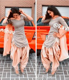 The latest collection of simple punjabi suit design for girls on happyshappy! Browse the suits combination with heavy dupatta, laces and neck designs, in good quality. Patiala Suit Designs, Kurta Designs Women, Kurti Designs Party Wear, Kurti Neck Designs, Salwar Designs, Blouse Designs, Punjabi Suit Neck Designs, Designer Kurtis, Indian Designer Suits