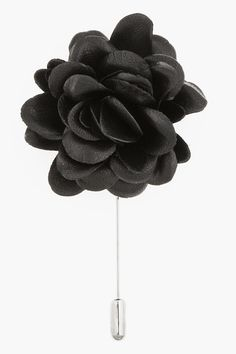 """LANVIN //  Black leather rose tie pin  32254M143002  Rose-shaped tie pin in black and silver-tone metal. Layered petals in buffed black leather. Approx. 3"""" length, approx. 2"""" square flower. 70% lambskin, 19% copper, 11% zinc. Made in Germany.  $195 CAD"""