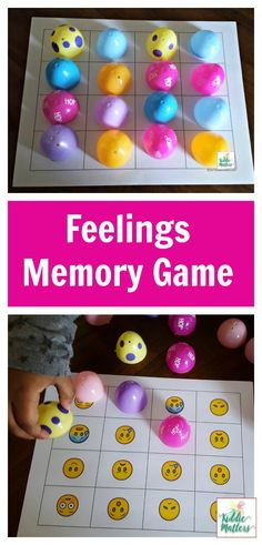 toy didactic Plastic Easter eggs feelings memory game to help kids learn how to identify feelings Social Emotional Activities, Emotions Activities, Social Emotional Development, Preschool Learning Activities, Easter Activities, Spring Activities, Teaching Kids, Social Games, Therapy Activities