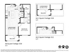 A4 – One Bedroom Apartment / One Bathroom  838 Square Feet